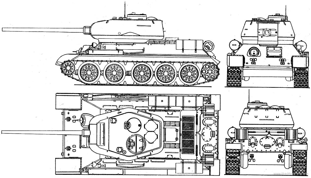 T34 vector drawing  TheBlueprintscom