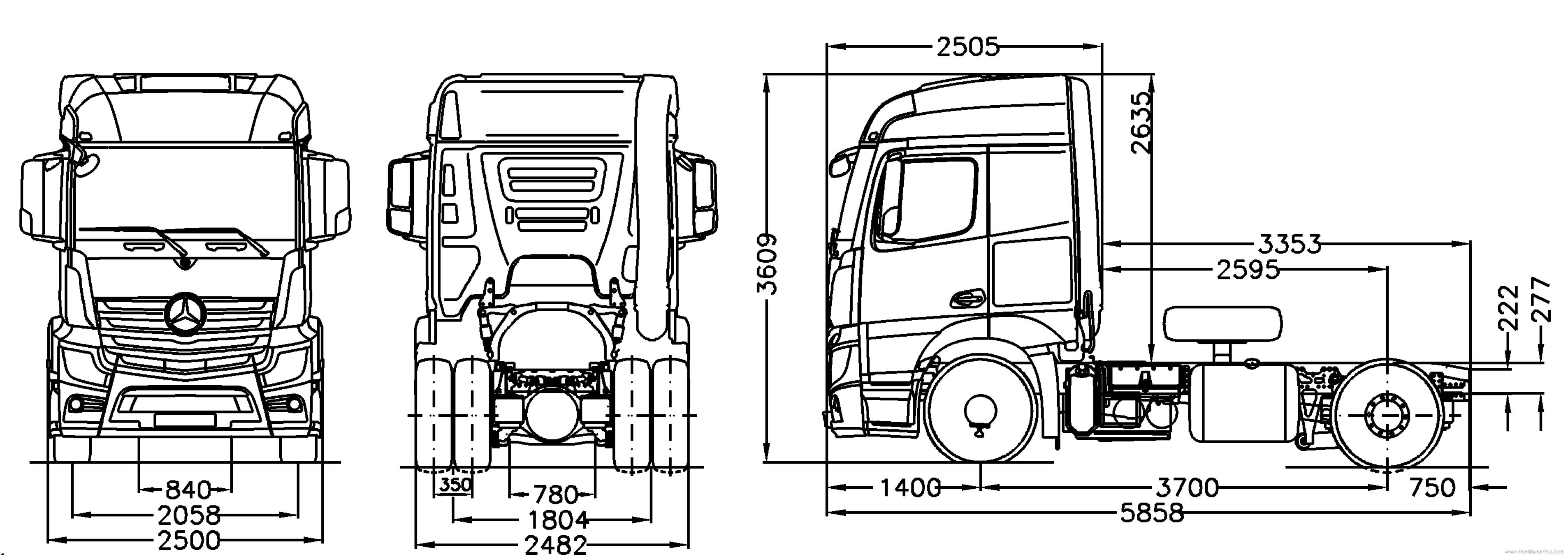 the blueprints trucks mercedes benz mercedes benz actros 4x2 semi trailer. Black Bedroom Furniture Sets. Home Design Ideas