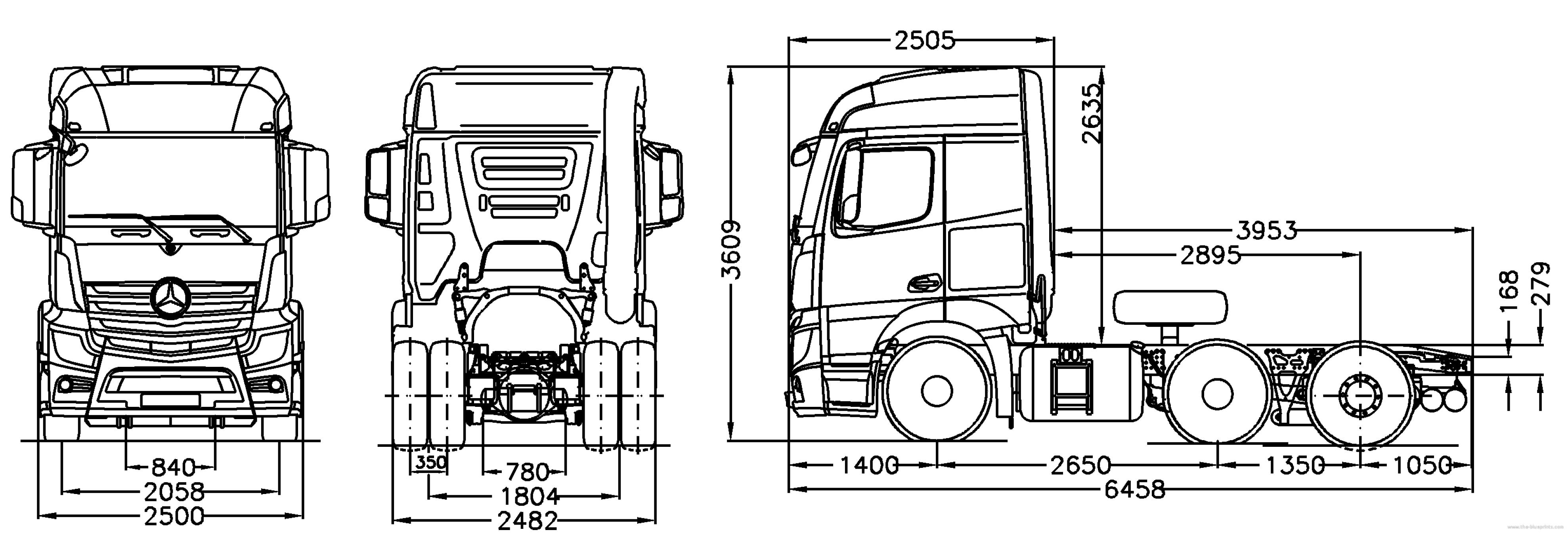 blueprints trucks mercedes benz mercedes benz actros 4x2 stream space semi trailer tractor. Black Bedroom Furniture Sets. Home Design Ideas