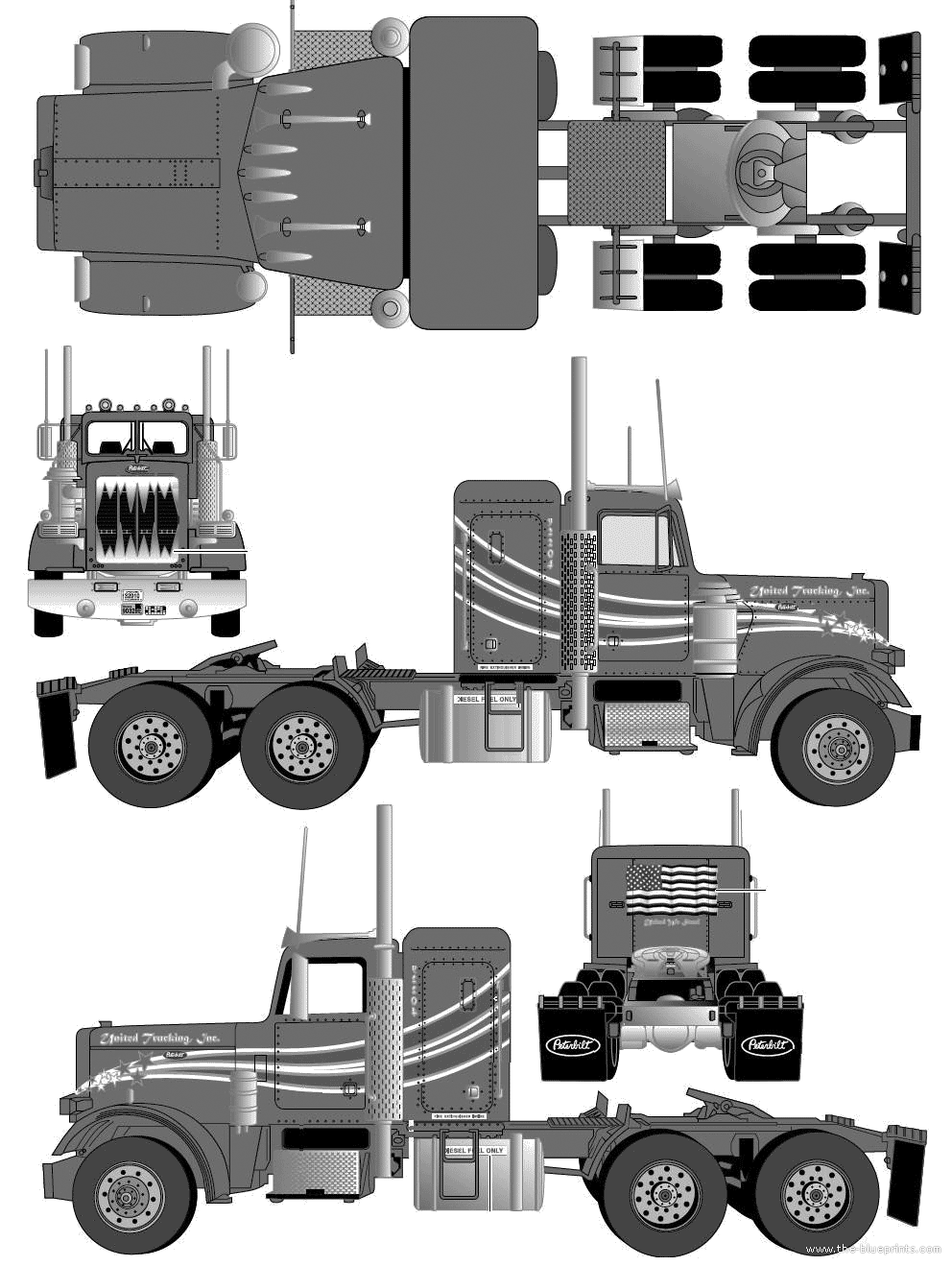 Blueprints > Trucks > Peterbilt > Peterbilt 359 Tractor