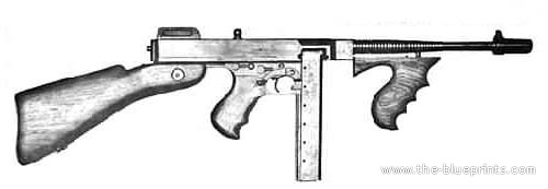 Tommy Gun Blueprint http://www.the-blueprints.com/blueprints/weapons/machine-guns/3327/view/tommy_submachine_gun/
