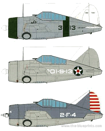 Blueprints > WW2 Airplanes > WW2 USA > Brewster F2A Buffalo