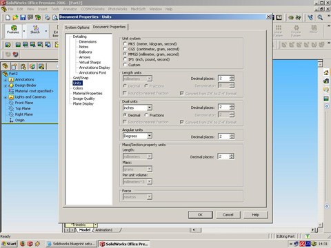 SolidWorks Document Properties units