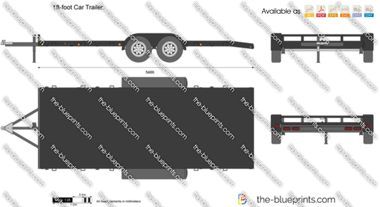 18 foot car trailer vector drawing 18 foot car trailer malvernweather Gallery