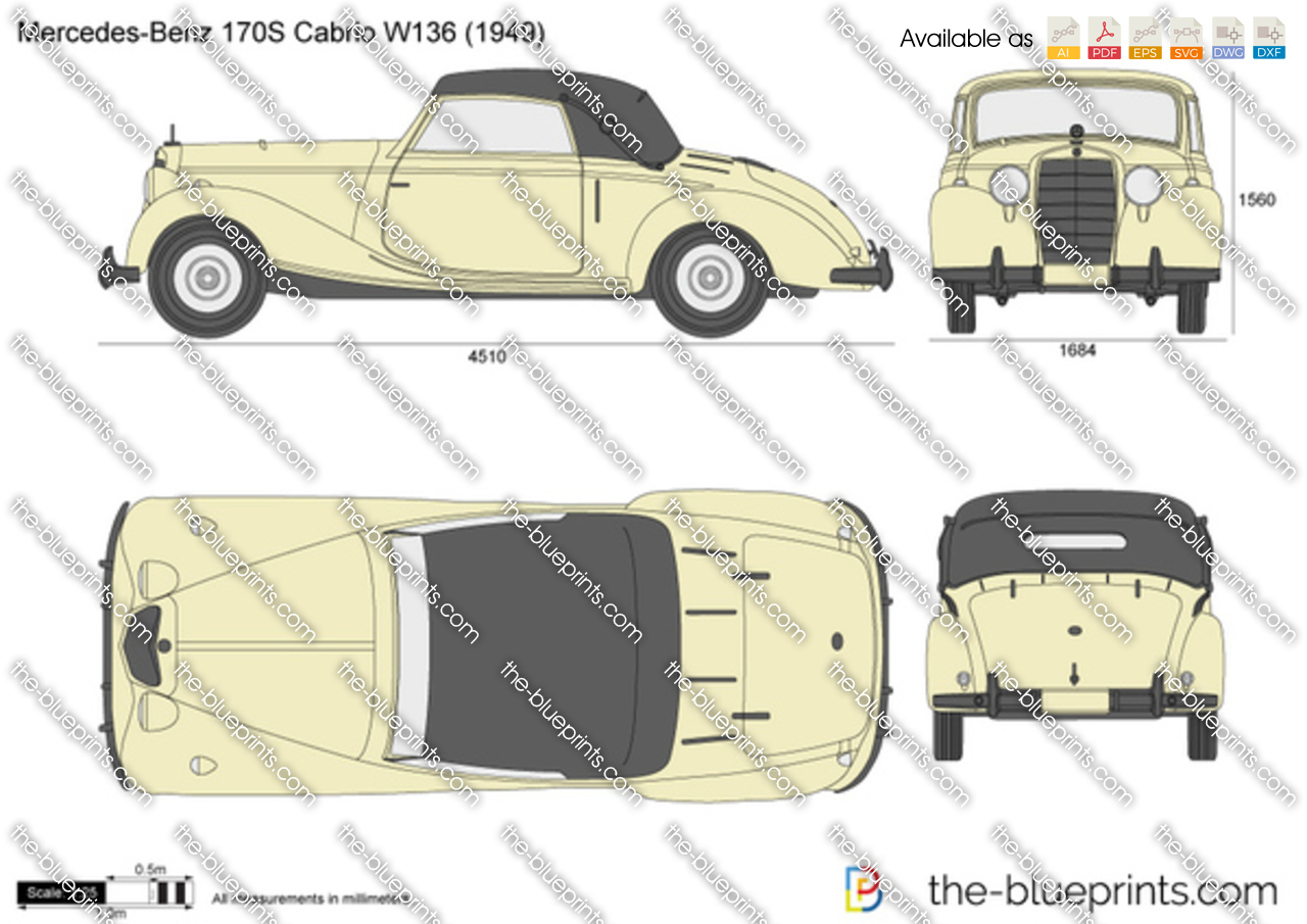 Mercedes benz 170s cabrio w136 vector drawing for 1946 mercedes benz