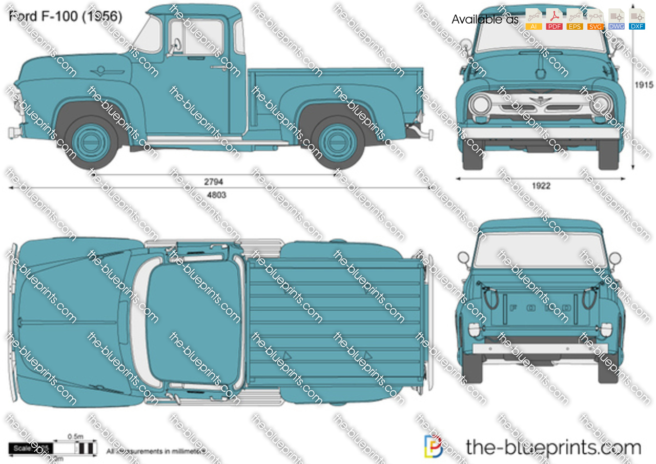 Ford F 100 Vector Drawing