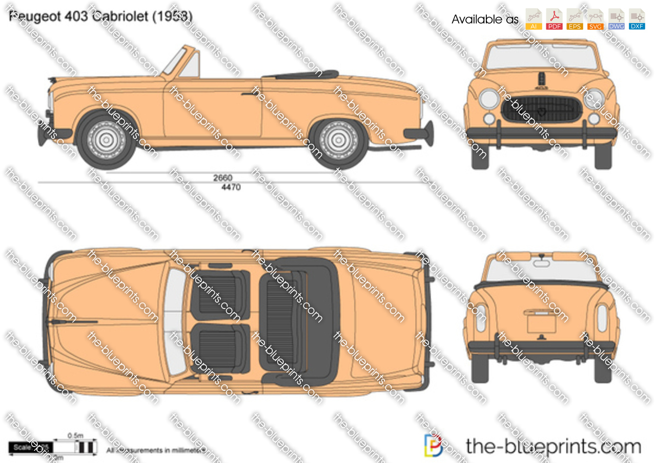 Peugeot 403 Cabriolet vector drawing