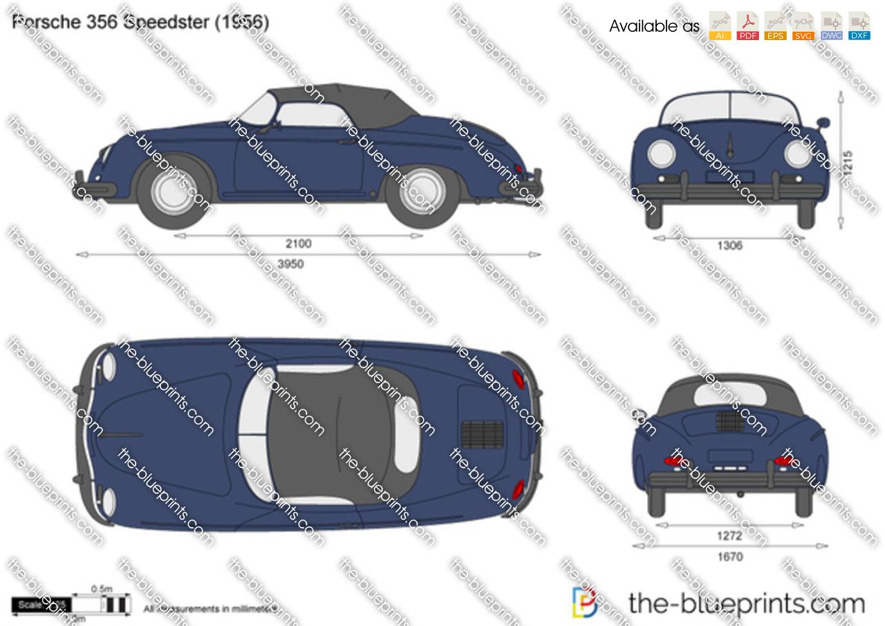 Porsche 356 Speedster Vector Drawing