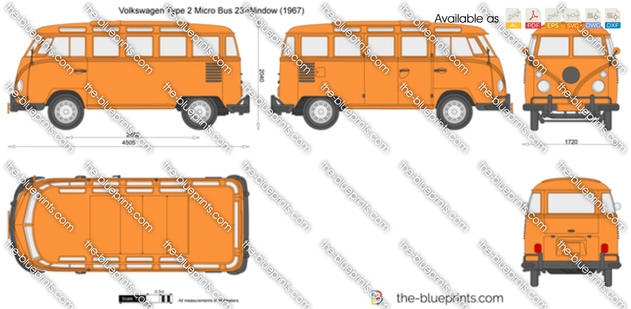 The vector drawing volkswagen type 2 for 1958 vw bus 23 window