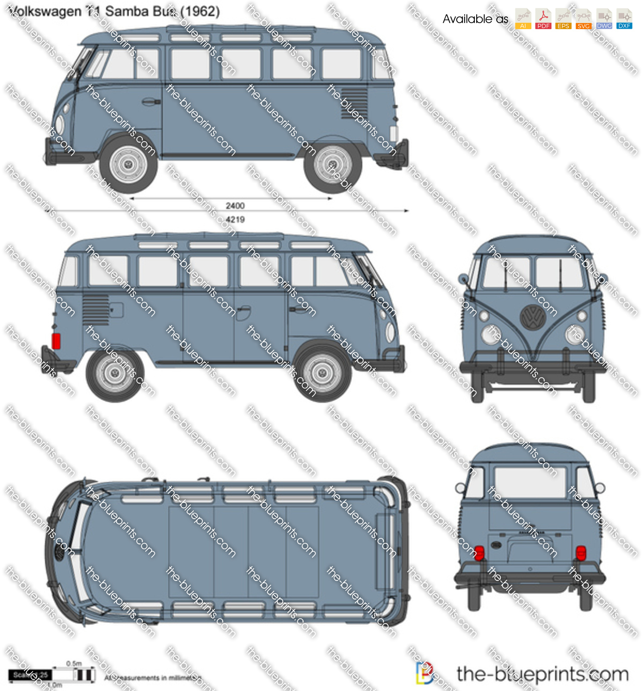 volkswagen t1 samba bus vector drawing. Black Bedroom Furniture Sets. Home Design Ideas