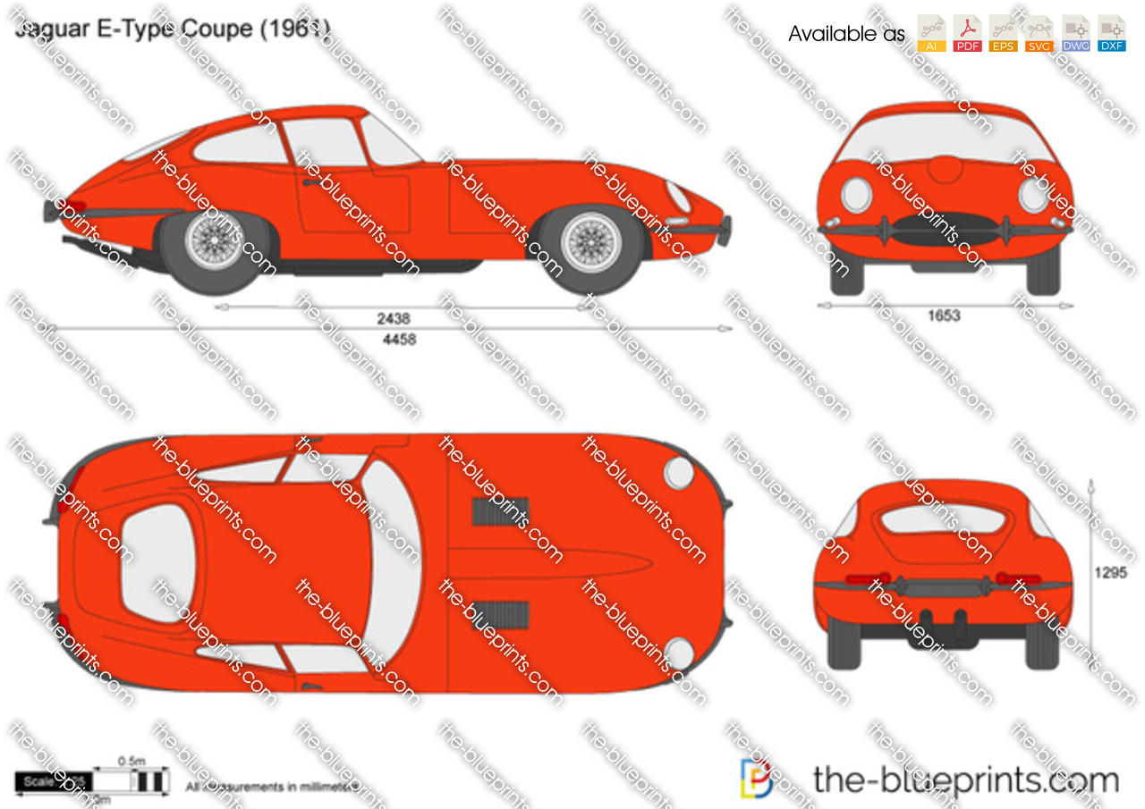 Jaguar E Type Coupe Vector Drawing