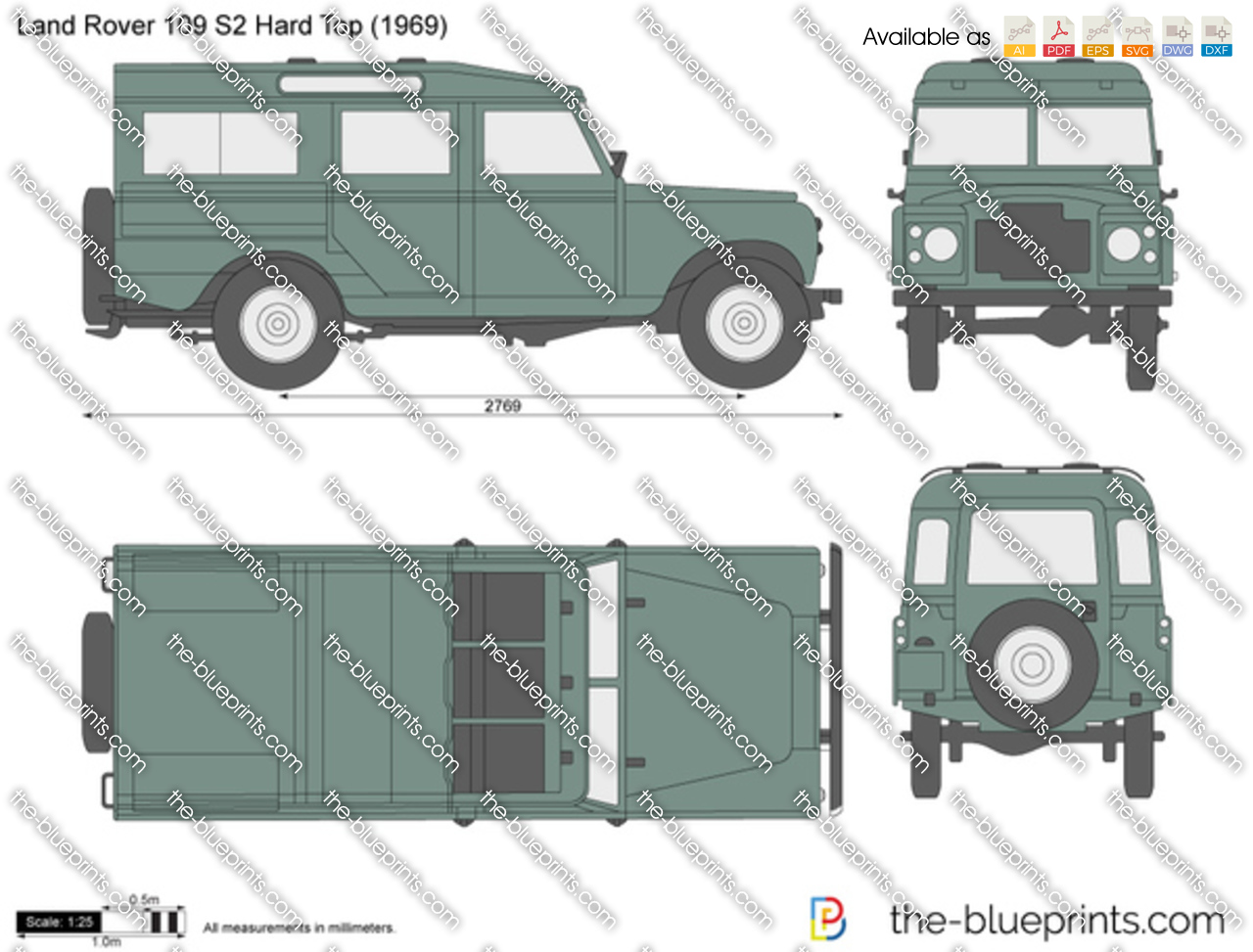 The Blueprints Com Vector Drawing Land Rover 109 S2