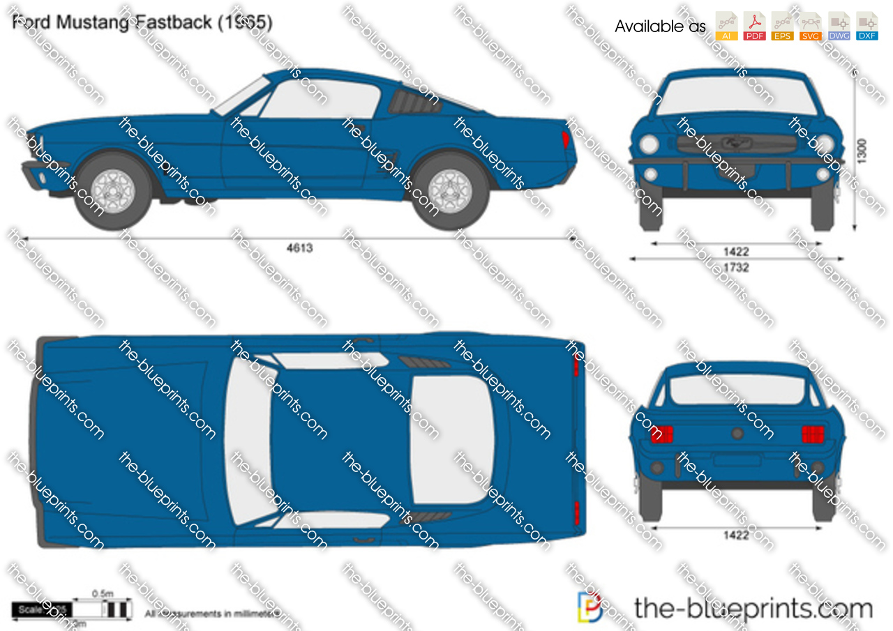 1964 Ford Mustang Fastback Vector Drawing