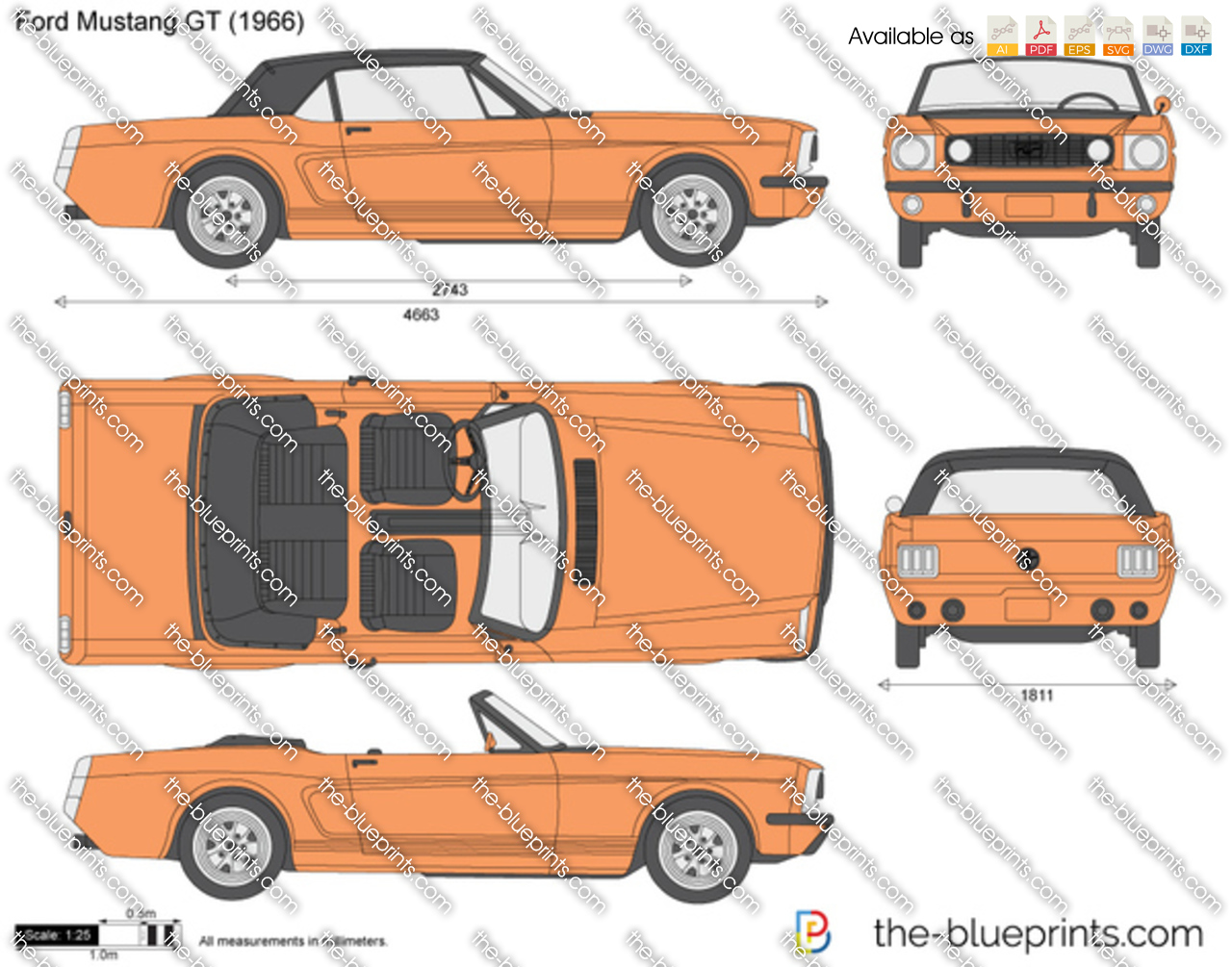 Ford Mustang Gt Vector Drawing Logo Drawings