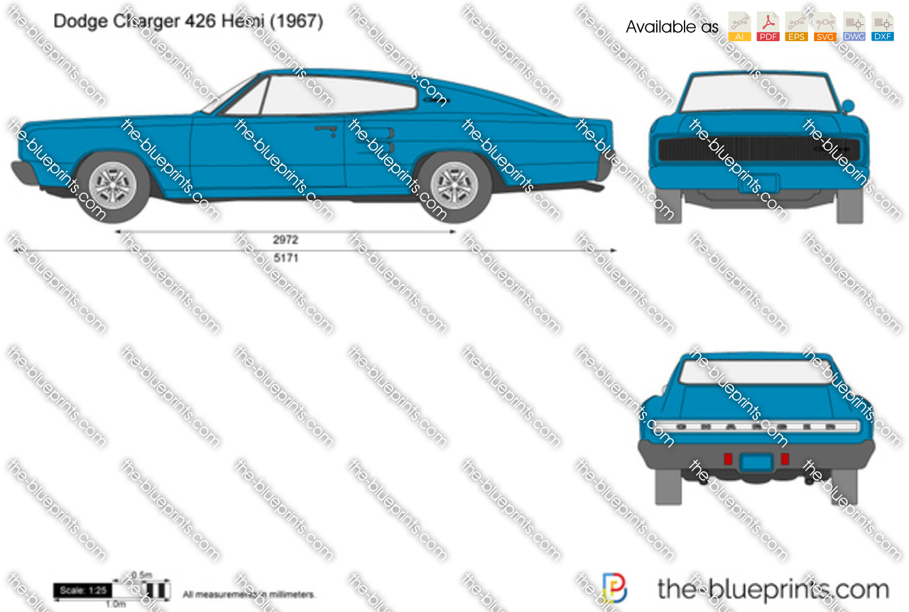 Dodge Charger 426 Hemi Vector Drawing 1969 Color Chart