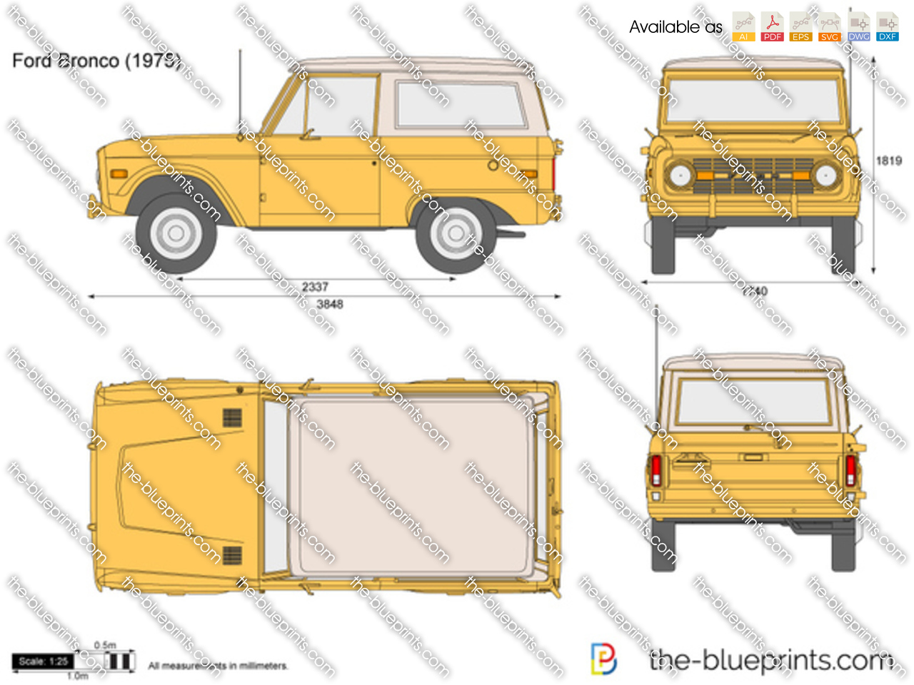 Ford Bronco Vector Drawing 1969 Ranger
