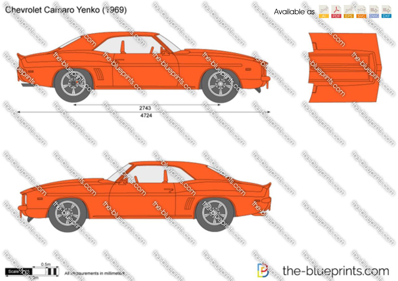Chevrolet Camaro Yenko Vector Drawing 1968