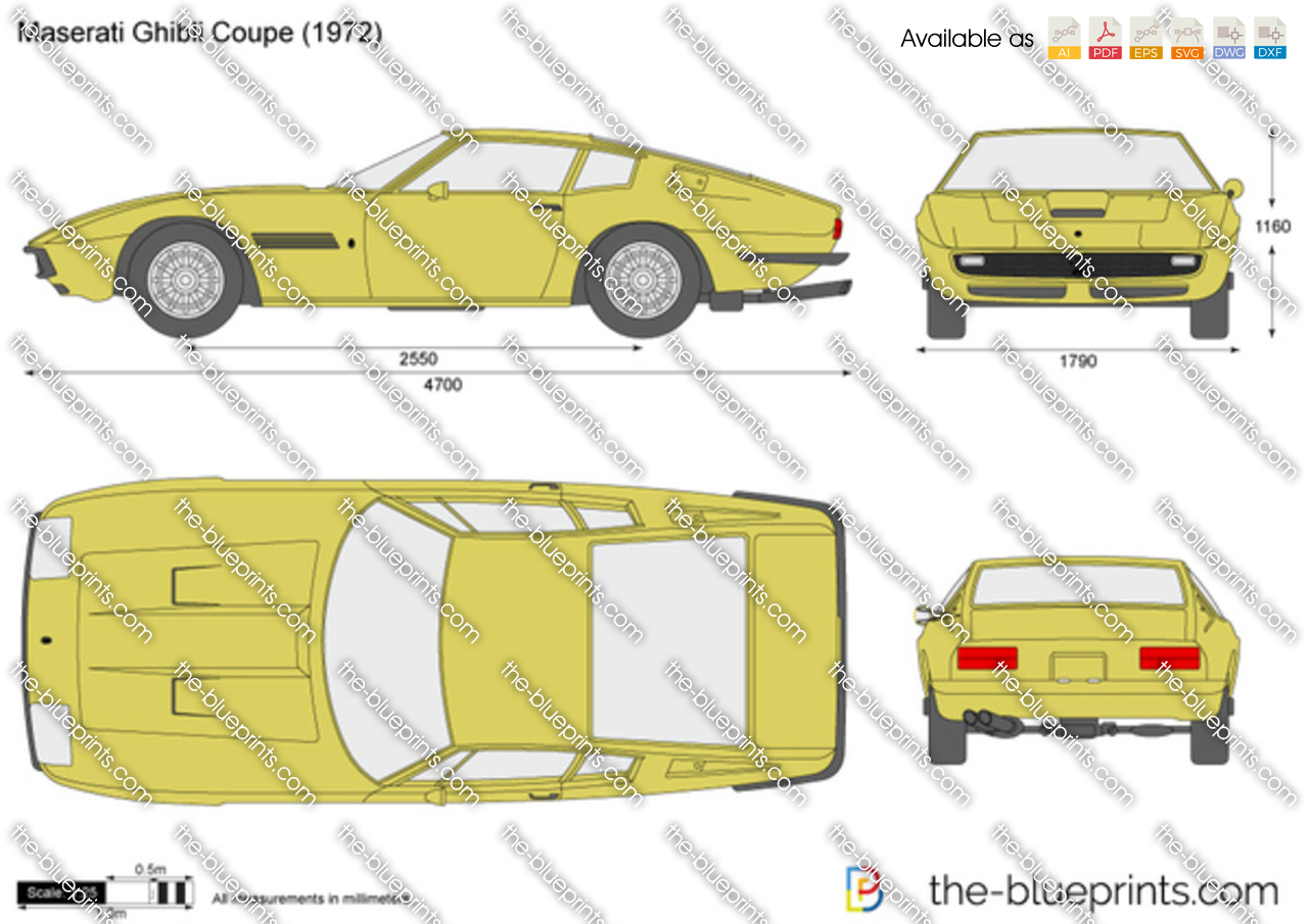 Maserati Ghibli Coupe Vector Drawing