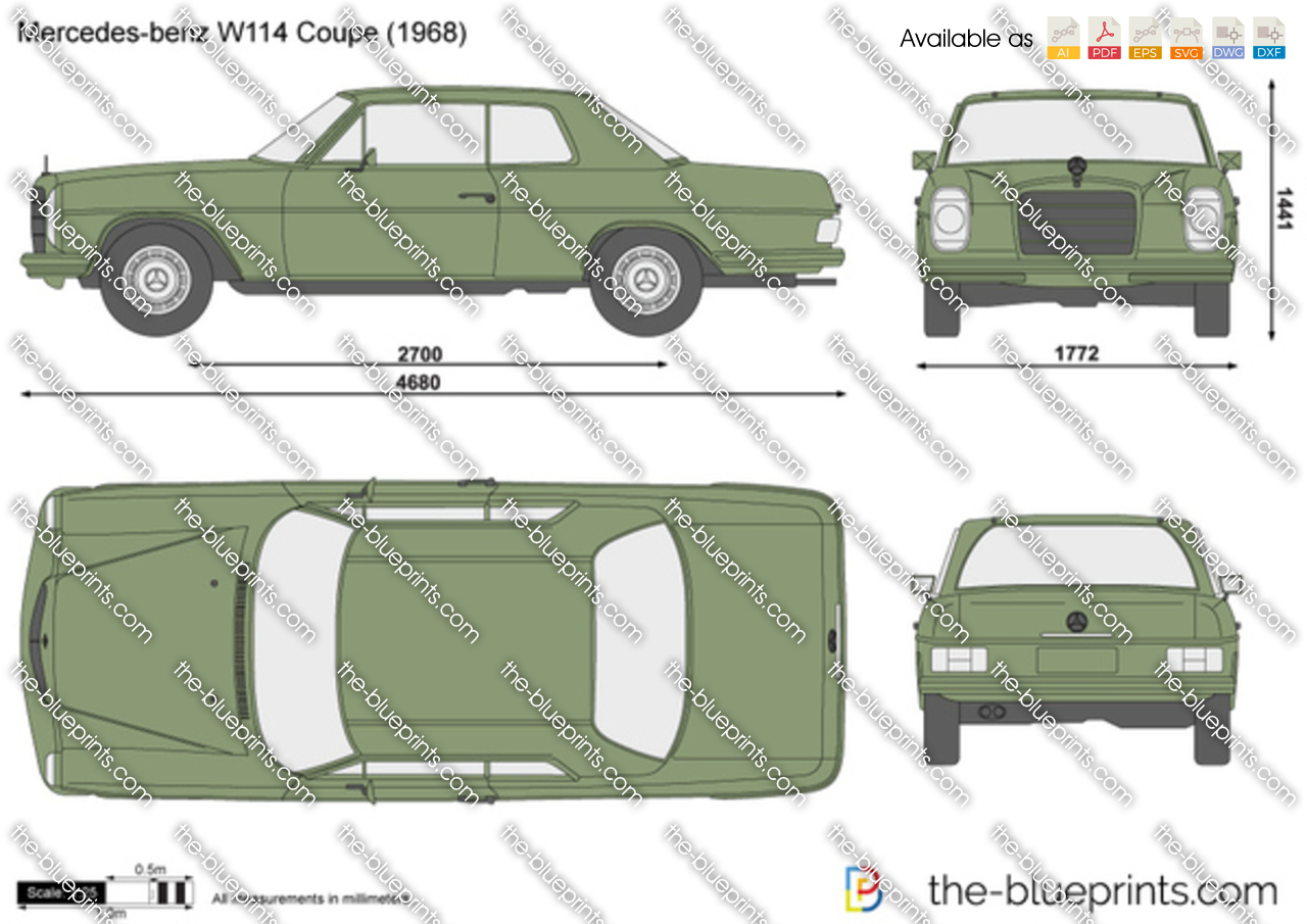The Vector Drawing Mercedes Benz W114 Coupe
