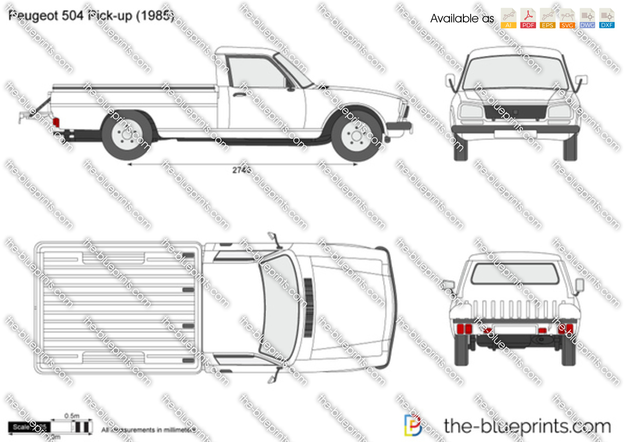 Peugeot 504 Pick Up Vector Drawing