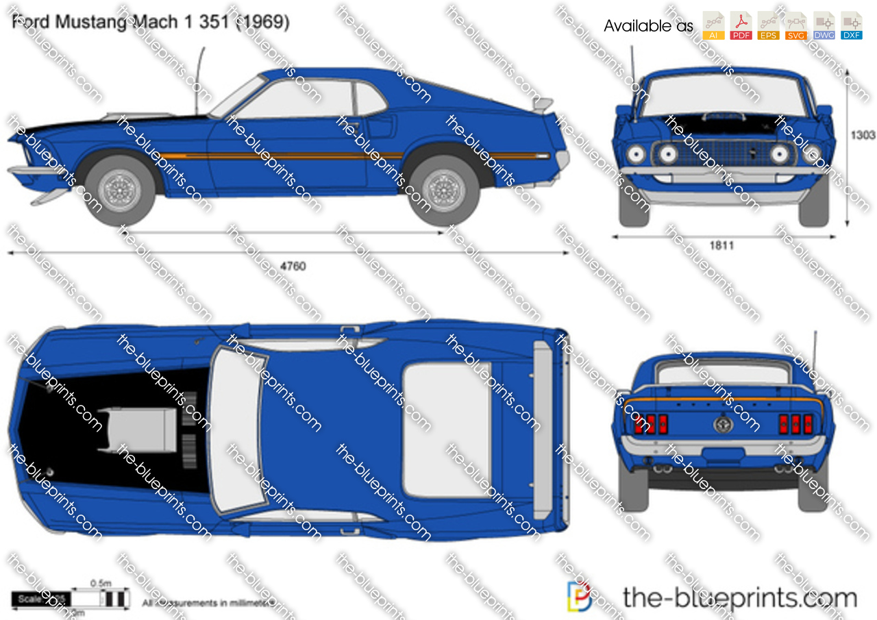 ford mustang mach 1 351 vector drawing