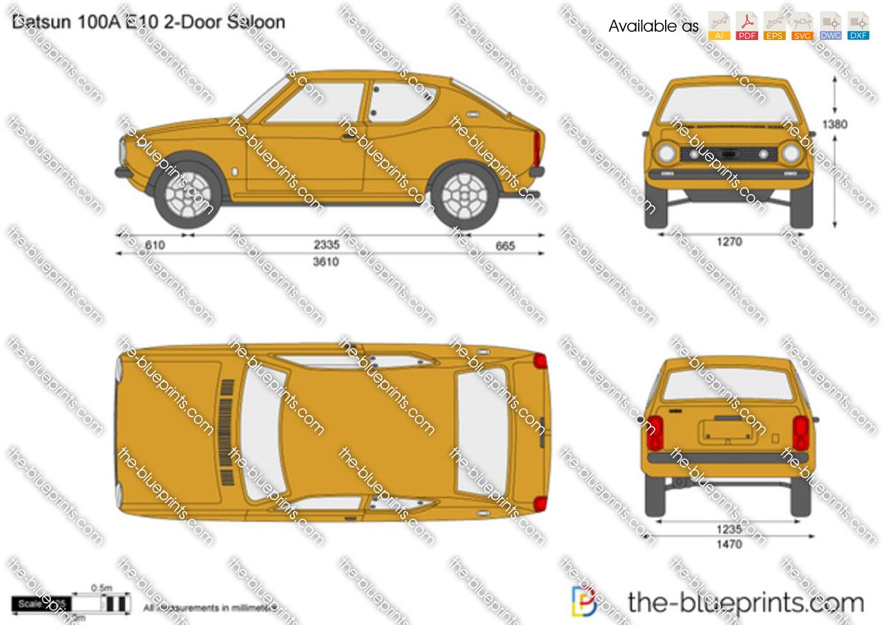 Datsun 100A E10 2-Door Saloon vector drawing