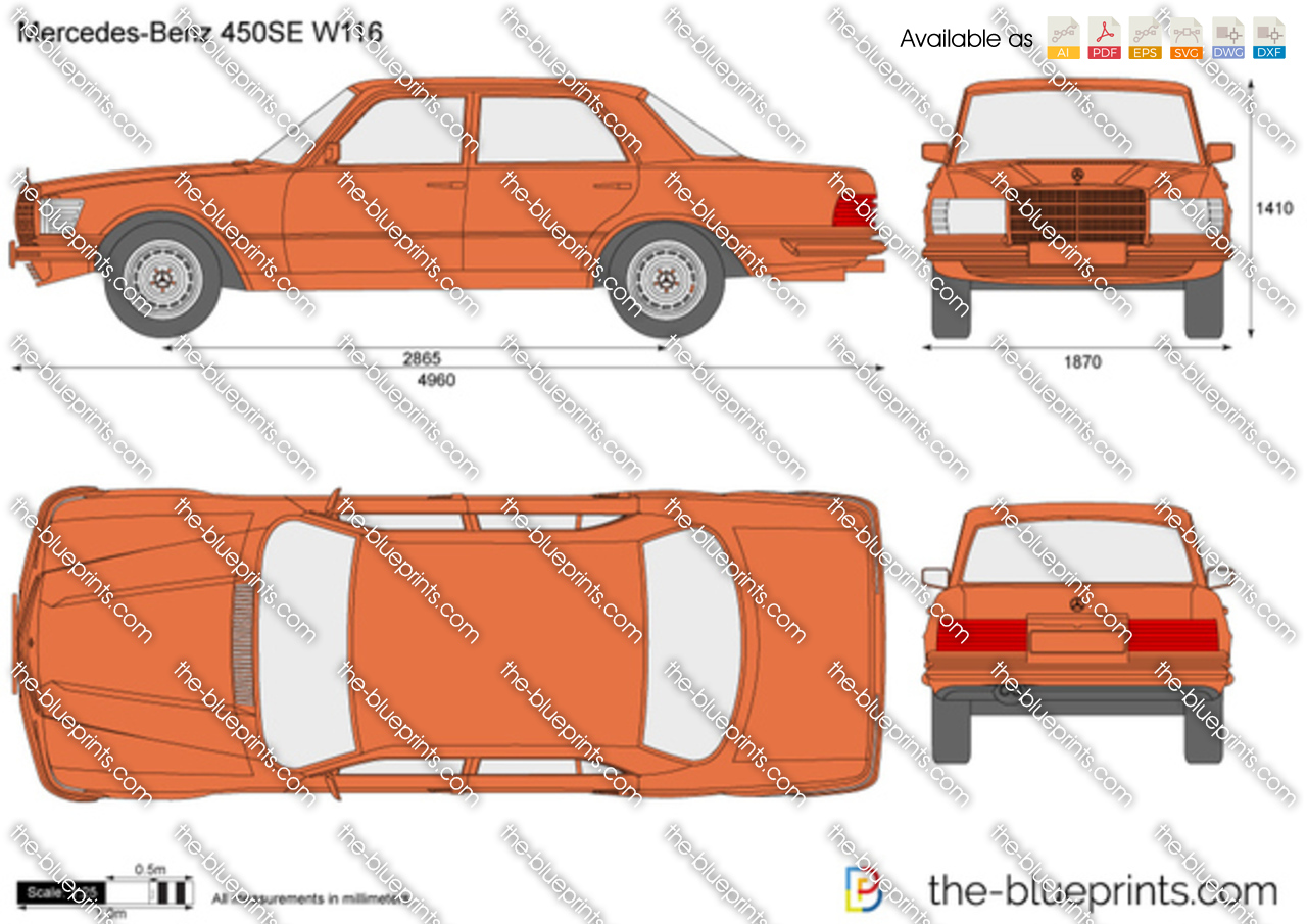 Mercedes Benz 450se W116 Vector Drawing