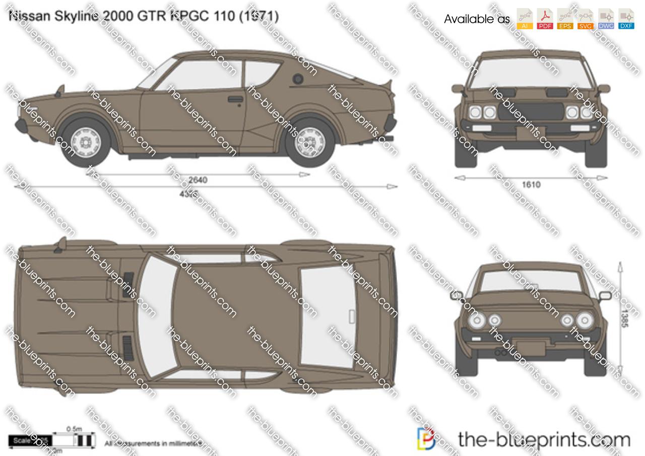 Nissan Skyline 2000 GTR KPGC 110 vector drawing