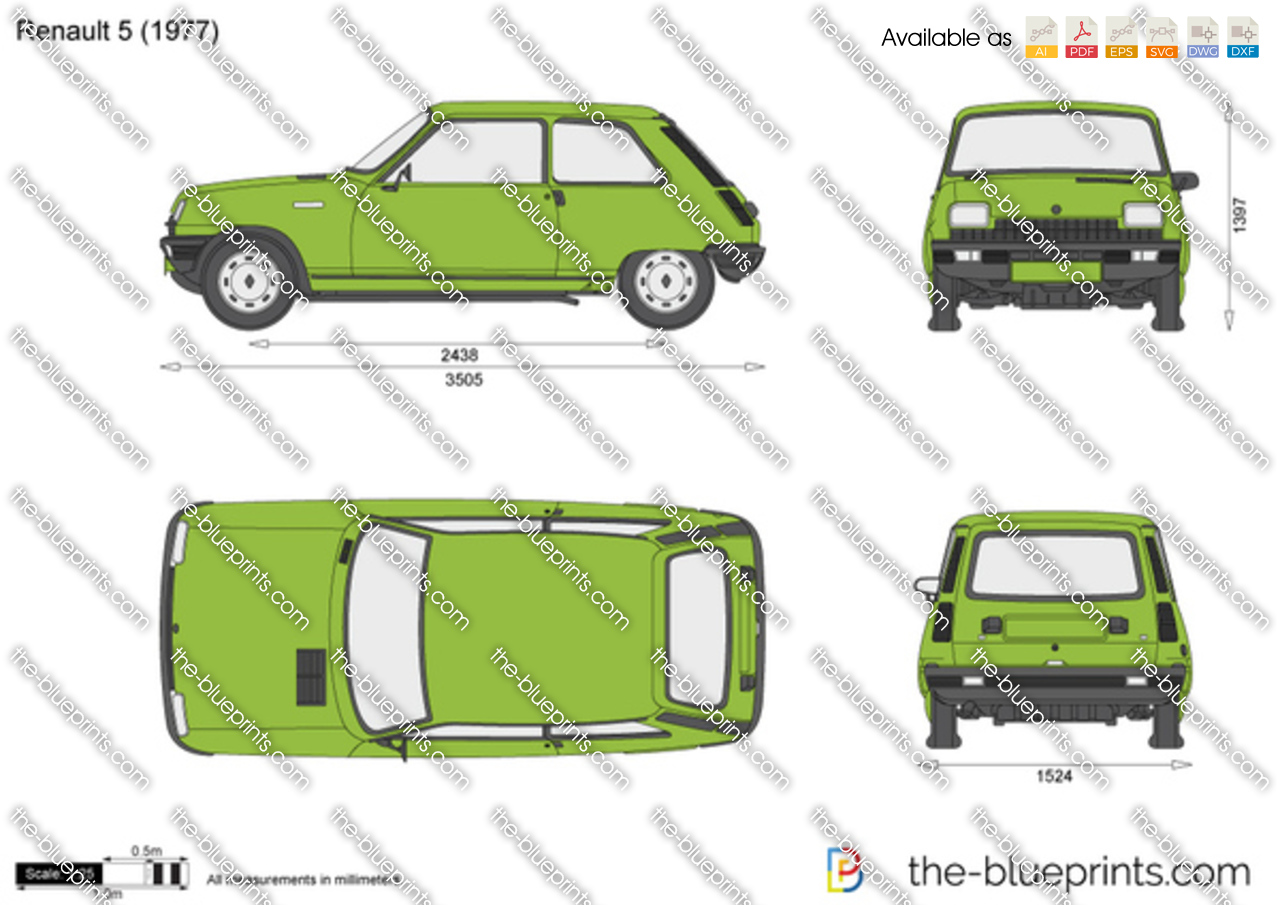 Renault 5 Vector Drawing