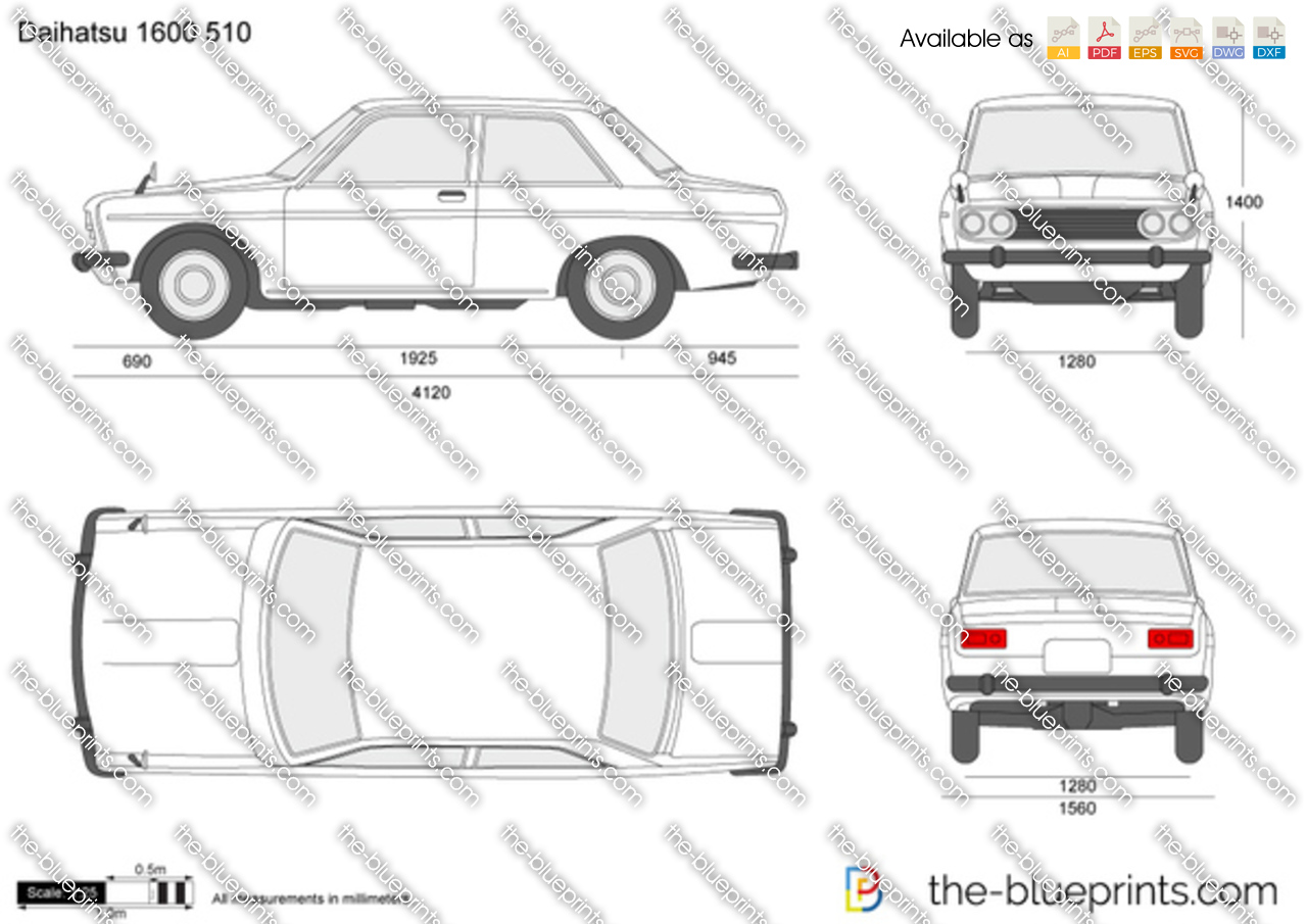 datsun 1600 510 vector drawing