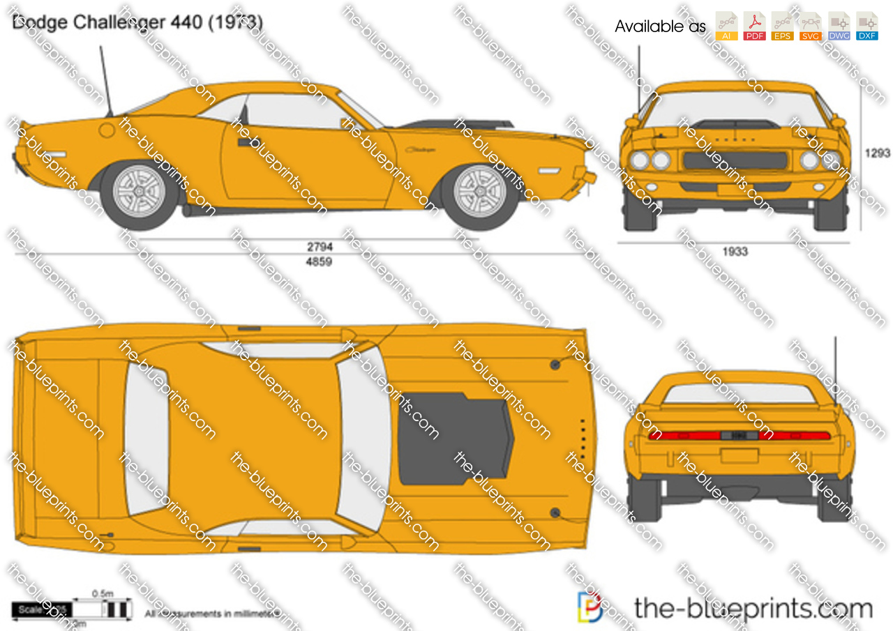 Dodge Challenger 440 Vector Drawing