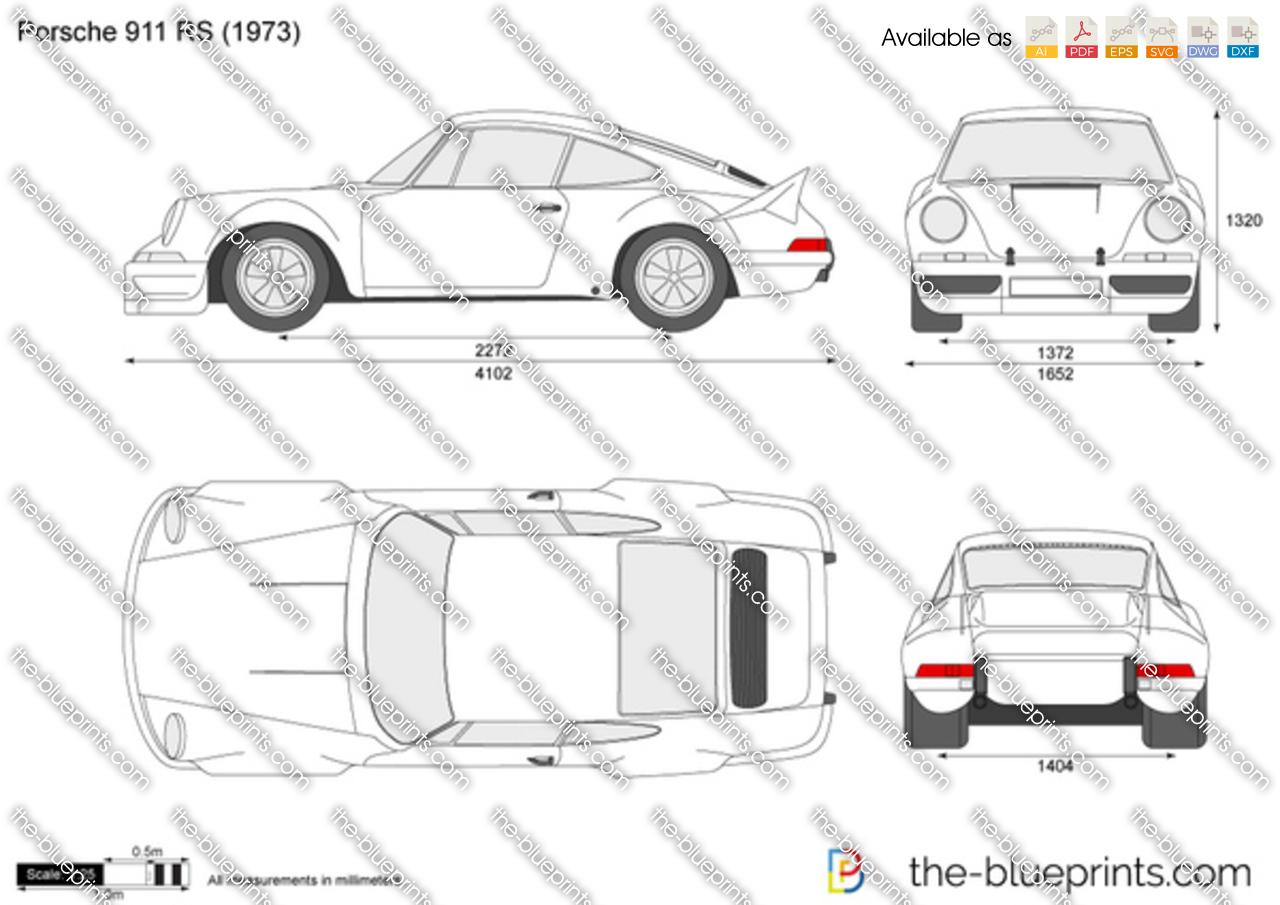 porsche 911 carrera rs vector drawing