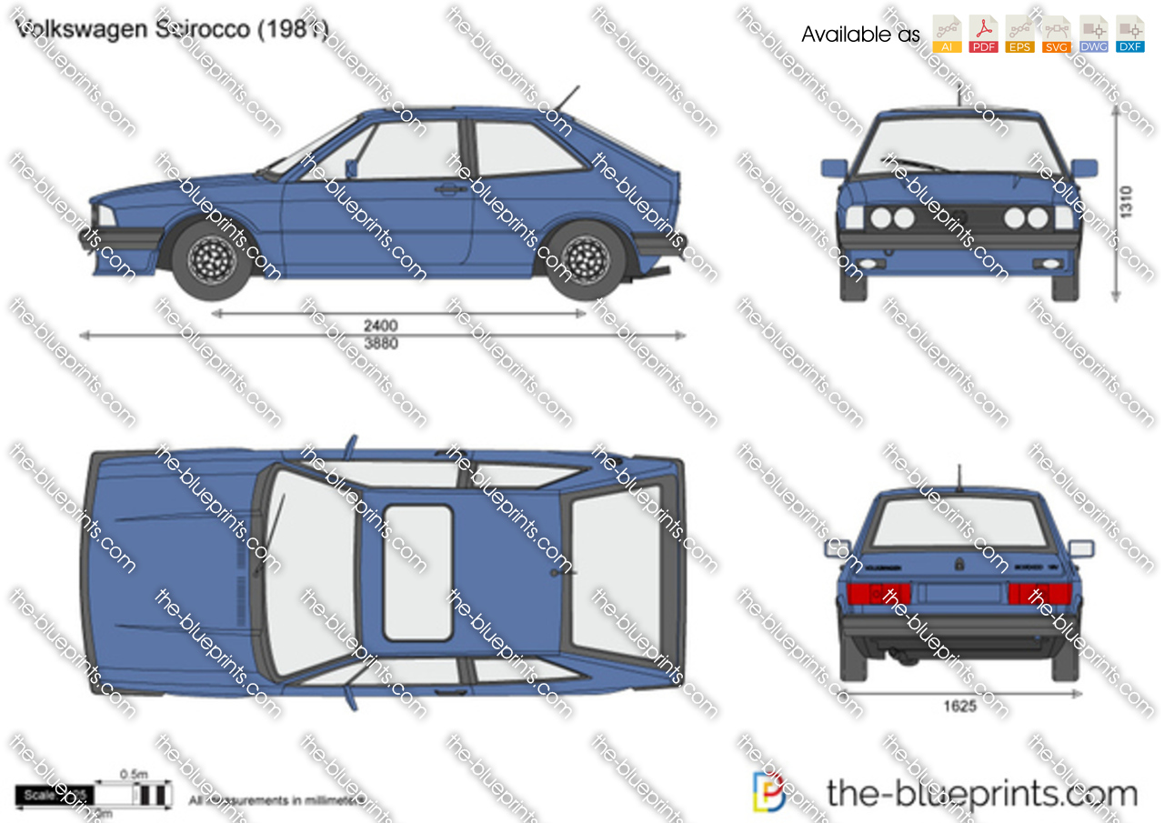 Volkswagen Scirocco Vector Drawing