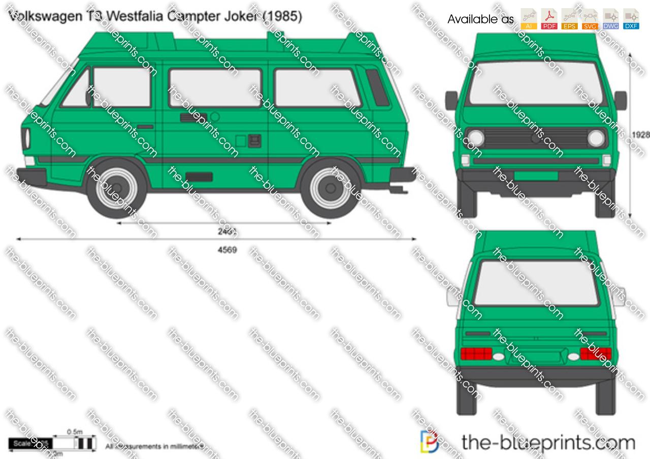 Volkswagen T3 Westfalia Camper Joker Vector Drawing