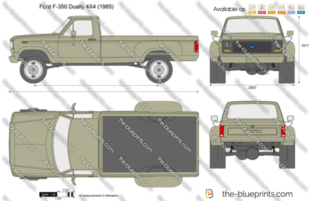 Ford F 350 Dually 4x4 Vector Drawing