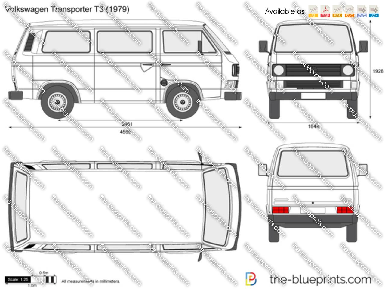 Volkswagen Transporter T3 Vector Drawing