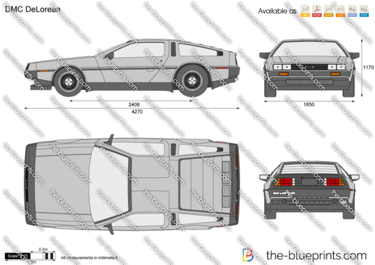 dmc delorean vector drawing. Black Bedroom Furniture Sets. Home Design Ideas