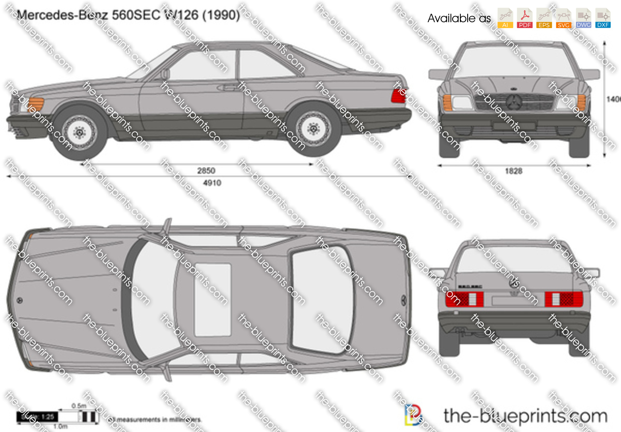 Mercedes Benz 560sec W126 Vector Drawing