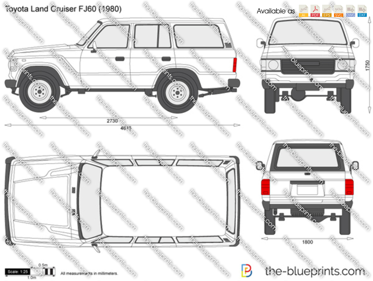 toyota land cruiser fj60 vector drawing