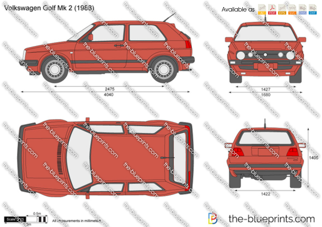 Volkswagen Golf Ii Vector Drawing