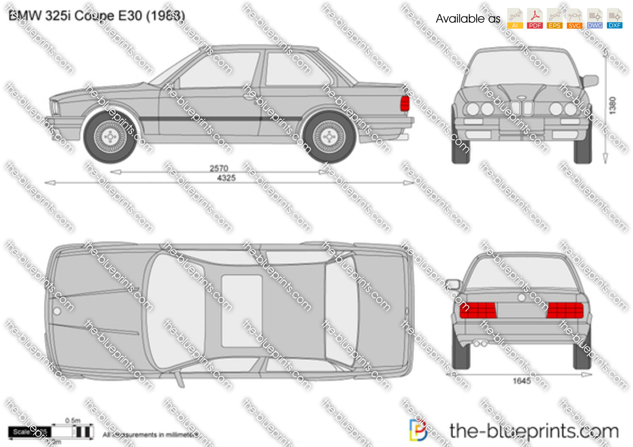 Bmw 325i Coupe E30 Vector Drawing