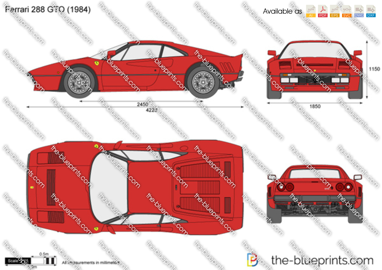 Ferrari 288 Gto Vector Drawing
