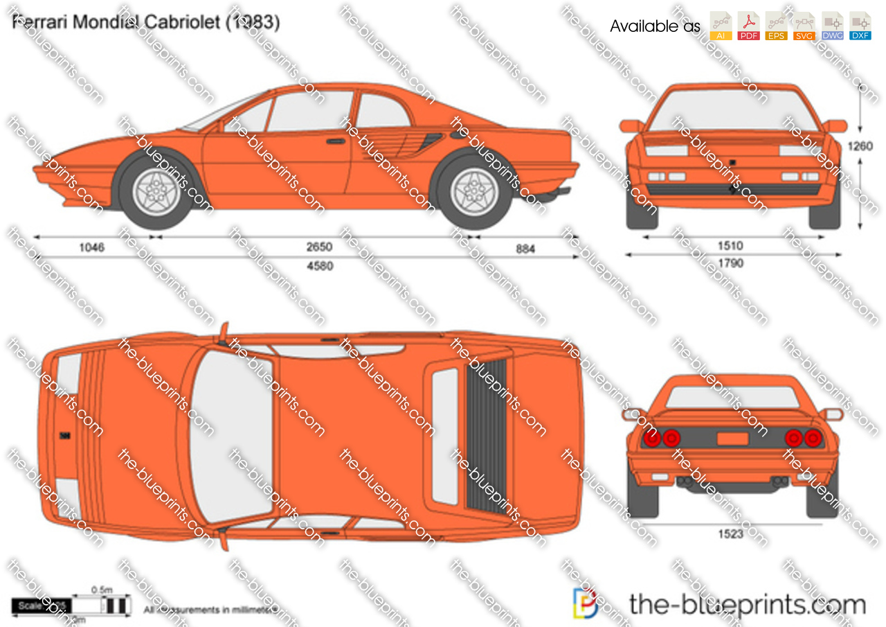 the vector drawing ferrari mondial cabriolet. Black Bedroom Furniture Sets. Home Design Ideas