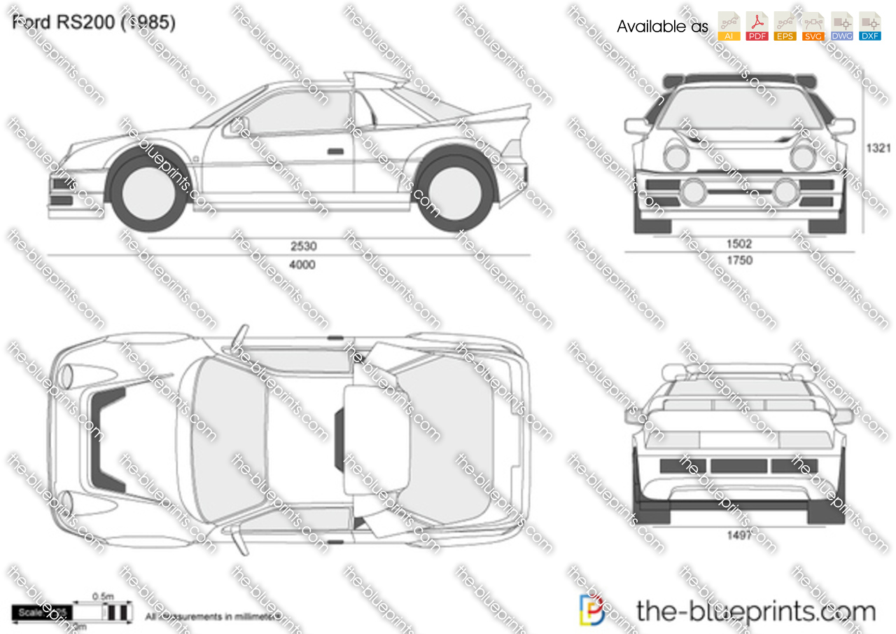 Ford Rs200 Vector Drawing