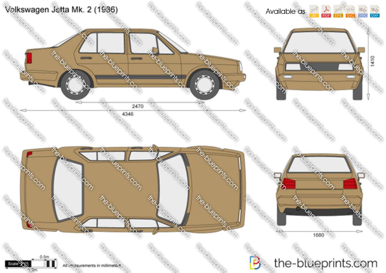 Volkswagen Jetta Mk 2 Vector Drawing