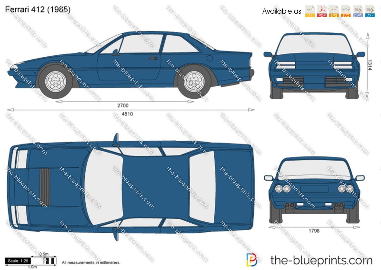 The blueprints vector drawing ferrari 412 ferrari 412 vanachro Images