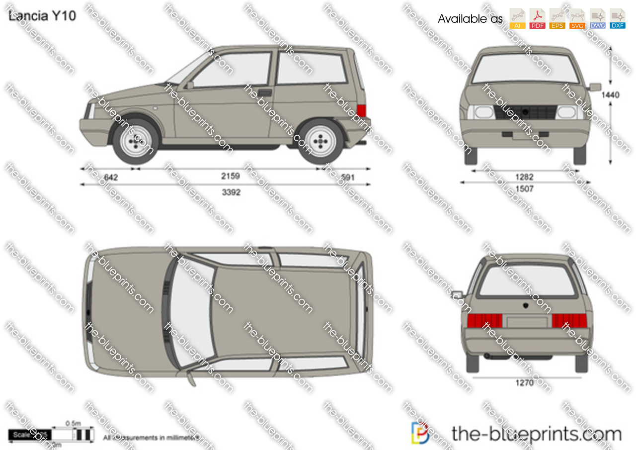 The blueprints vector drawing lancia y10 1988 lancia y10 vanachro Choice Image