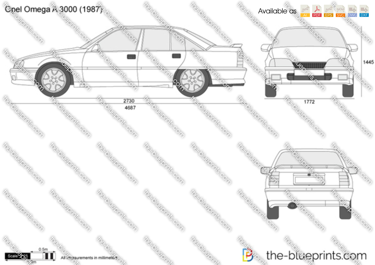 opel omega a 3000 vector drawing