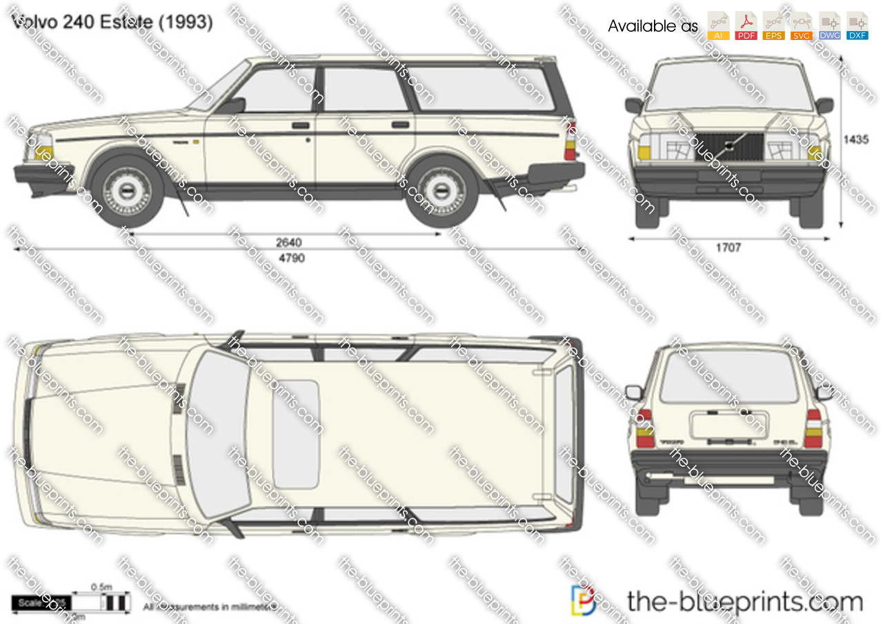 Volvo 240 Estate Vector Drawing
