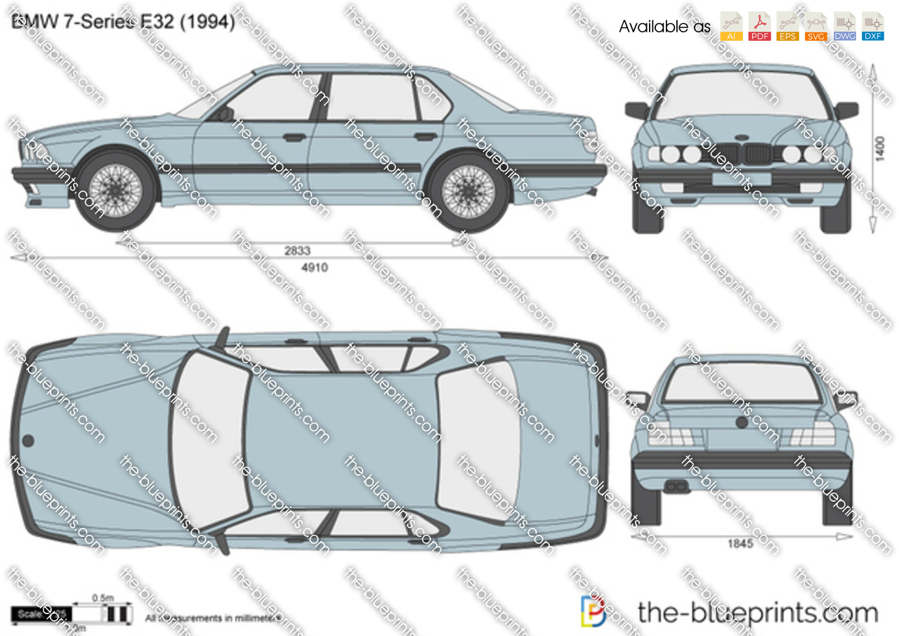 Bmw 7 Series E32 Vector Drawing